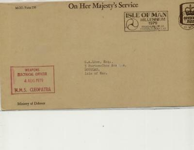 Isle of Man 1979 Envelope with HMS Cleopatra Weapons electrical Officer cachet
