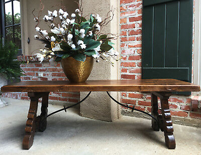 Antique French Country Oak Coffee TABLE Bench Catalan Spanish Iron Farm Style