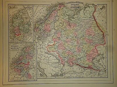 Vintage 1887 EUROPE MAP ~ Old Antique Original Atlas Map 100615