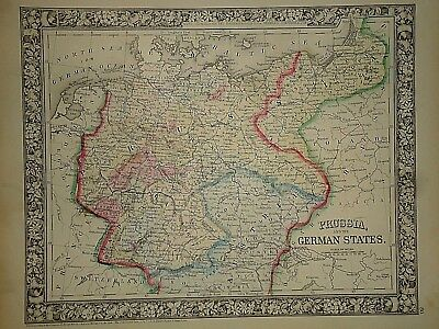 Vintage 1866 PRUSSIA - GERMAN STATES MAP ~ Old Antique Original Atlas Map 050217