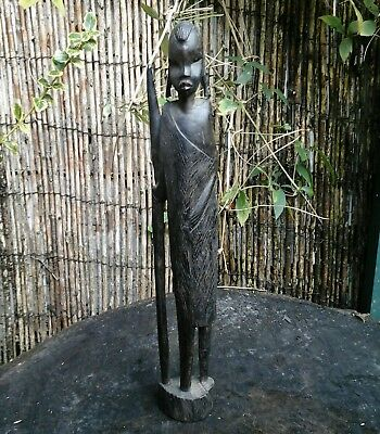 Vintage Hand Carved Dark Hard Wood Figure, Tribesman With Spear,approx 15 Inch