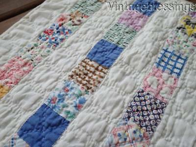 Sweet Vintage Feedsack Farmhouse Table QUILT RUNNER 19x9 Lots of Blue
