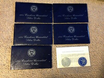 Lot of 5 -1974-S Eisenhower Uncirculated SILVER Dollars