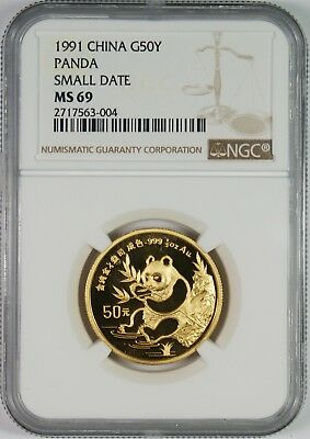 1991 China 50Y Gold Panda Coin NGC MS69 **Small Date**