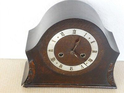 James Walker Antique  Chiming Mantel Clock + Key Working But Needs Repair