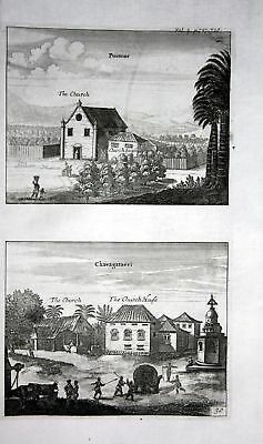 1730 Puttur Sri Lanka Chavakacheri map Karte Kupferstich engraving