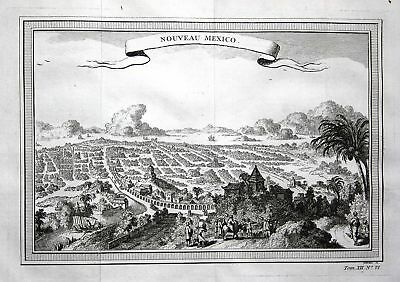 1750 Ciudad de Mexico Tenochtitlan view Ansicht Plan Kupferstich antique print