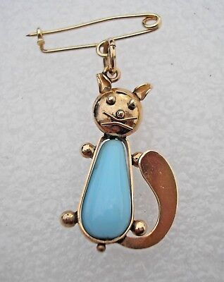 Very pretty vintage 1950's 14ct Gold Cat brooch, or pendant