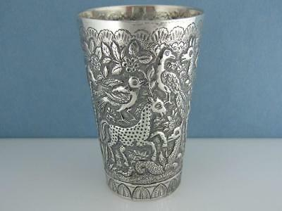Fabulous Old Indian Persian Silver Cup Tumbler chased w/ Animals very detailed