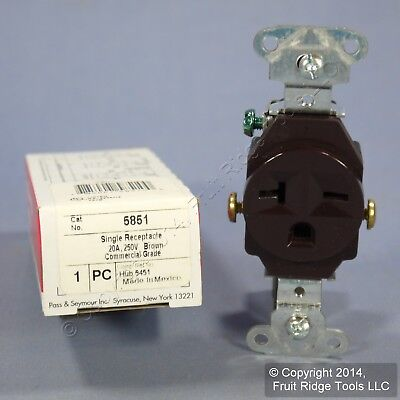 New P&S Brown COMMERCIAL Single Outlet Receptacle NEMA 6-20R 20A 250V 5851 Boxed