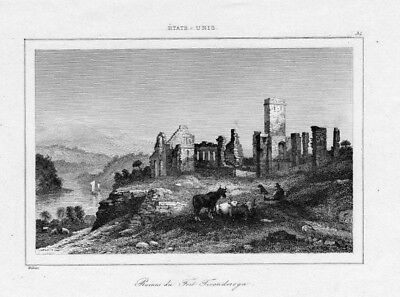 1840 - Ticonderoga Fort Festung Ruine New York America engraving Stahlstich