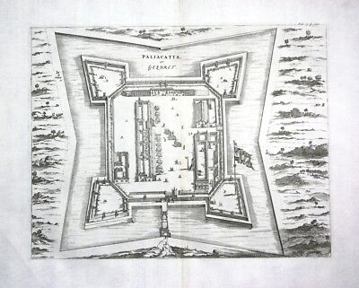 1730 Churchill Pulicat Tamil Nadu India Indien Kupferstich engraving map Karte