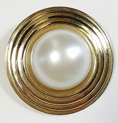 Vtg Jewelry Scarf Brooch Pin/Clip Gold Tone Metal Faux Pearl Classy Button #4290