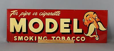 1920s Antique MODEL SMOKING TOBACCO Advertising Tin Sign, No Reserve