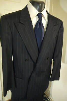 Armani Collezioni Size 42R Navy Pinstripe Double Breasted Suit W/dual Vents