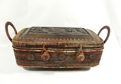 """Vintage 14 1/2"""" LOMBOK INDONESIA Footed BASKET Carved Tribal Bird Chinese Coins"""