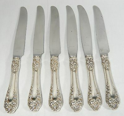 NORTHUMBRIA Normandy ROSE STERLING 6 Silver DINNER KNIVES 9 inch