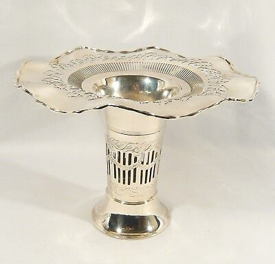 Large Antique SILVERPLATE Trumpet  Vase  STANDARD SILVER CO. RETICULATED c. 1900