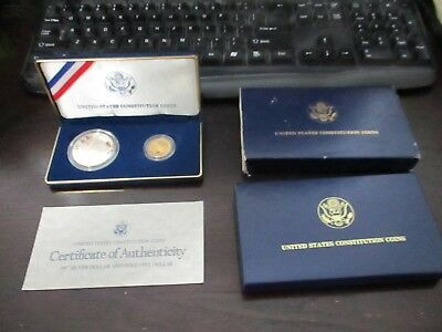1987 U S Constitution Two Coin Commemorative Set $1 Silver $5 Gold OGP