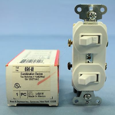 New P&S White Single Pole & 3-Way Toggle Wall Light Switch 15A 120/277V 696-W
