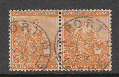 CAPE OF GOOD HOPE 1871-76 5/- Hope Seated pair SG 31 used CV £50