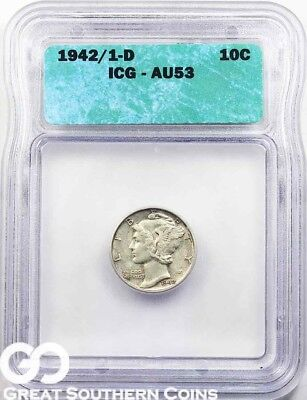 1942/1-D ICG Mercury Dime ICG AU 53 ** Avidly Pursued Key Date Mint ERROR!