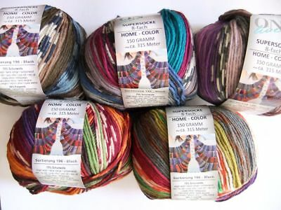 "ONline SUPERSOCKE Home Color 8-fädig ""15x150g"" 5 Farben sort. Sockenwolle 8-fach"