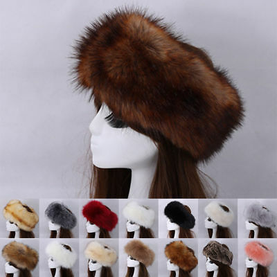 Women Russian Hats Fluffy Faux Fur Cossack Headband Winter Cap Earwarmer Ski Hat