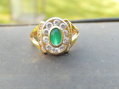 Vintage Splendide Bague Or 18 Ct Pierre Sertie Clos 20 Saphir Blanc