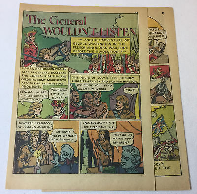 1942 four page cartoon story ~ GEORGE WASHINGTON in French+Indian War