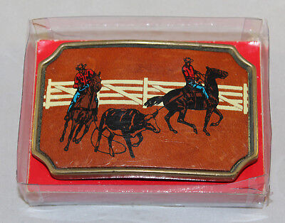 Heavy Vintage BTS Brass & Leather Rodeo Belt Buckle With Original Box