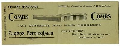 1890's Eugne Berninghaus Barber Hair Dresser Comb Catalog Cincinnati Ohio