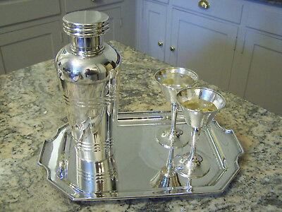 European Large 1 Qt Stunning Art Deco Silver Cocktail Shaker Pitcher Top Notch