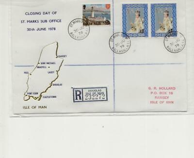 Isle of Man 1978 Closing Day of St Marks Post Office Registered Cover