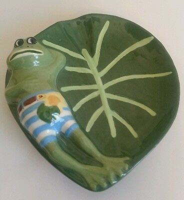 Green FROG Toad Lily Pad Statue Figure Paper Clip Dish Coin Dish Soap Dish