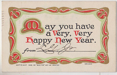 Vintage,Arts & Crafts Postcard,May You Have a Very Very Happy New Year,Used,1910