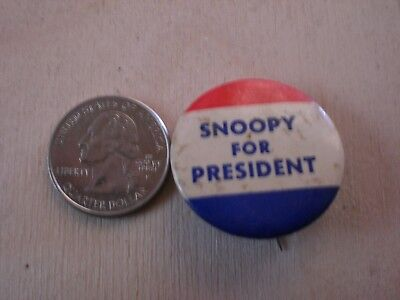 """VINTAGE 1960's """"SNOOPY FOR PRESIDENT"""" PIN BACK BUTTON PEANUTS"""