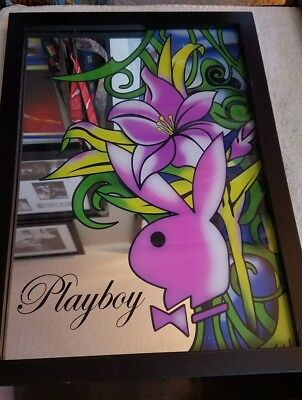 Vintage Playboy Plate Glass Panel, Bunny Logo Super mirror Picture orchid RARE