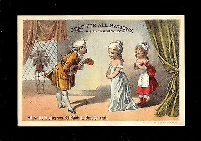 Selling Soap To Lady of the House-1880s Victorian Trade Card