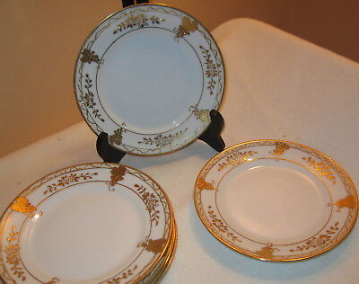 Vintage Gorgeous Hand Painted Nippon Plates Raised Gold Beading