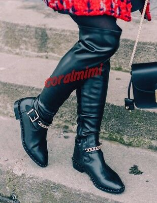 Zara NEW AW17 OVER KNEE BLACK TALL CHAIN STUDDED FLAT BOOTS SIZE 6
