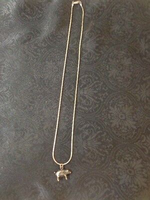 Cute Hog / Pig Sterling Silver Necklace 10 grams Be a Hit at the Pork Festival