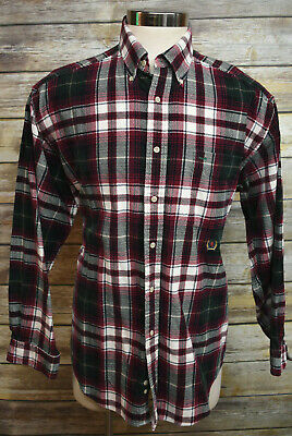 44f907901 Vintage Tommy Hilfiger Corduroy Button Down Shirt Red Green Plaid Large
