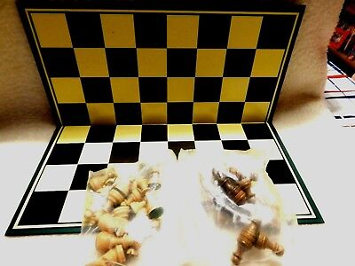 Chess Set  - Hard Durable Cardboard + Wooden Chess Pieces