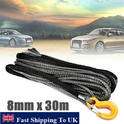 8mm Dyneema SK75 Synthetic 12-Strand Winch Rope x 15m With Hook Off Road ATV