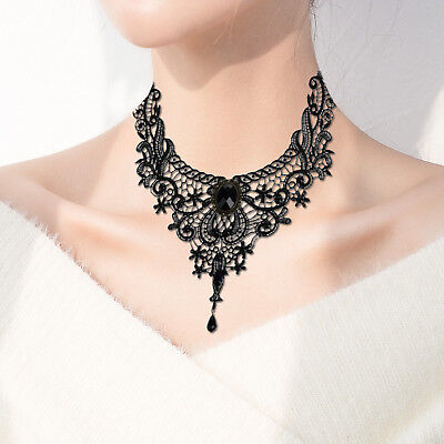 Black lace collar bib choker necklace Gothic Victorian Steampunk UK seller