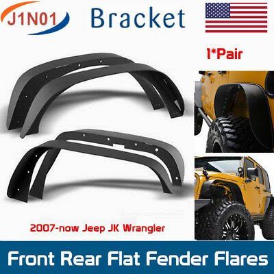 4PCS Front & Rear Flat Fender Flares 2007-2018 Jeep Wrangler JK Unlimited Black