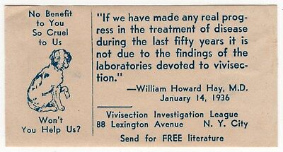 "1936 Animal Protection Advertising Sticker: ""Vivisection Investigation League"""