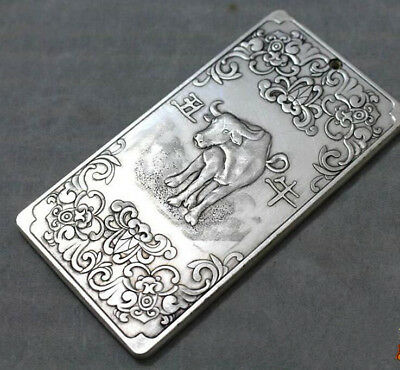 Chinese tibet Silver Chinese Zodiac cattl statue amulet Waist tag token