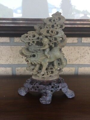 Vintage Chinese Soapstone Man Riding Dragon Sculpture